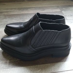 Zara black leather chunky oxford ankle boots 7.5